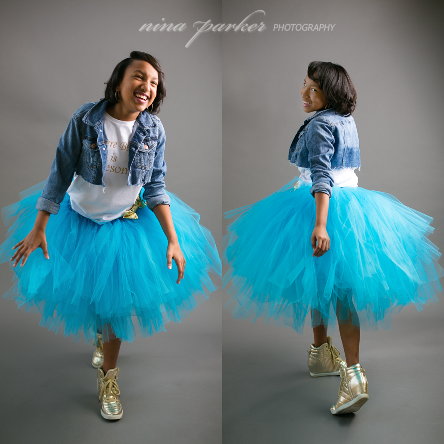 preteen girl in a tulle skirt