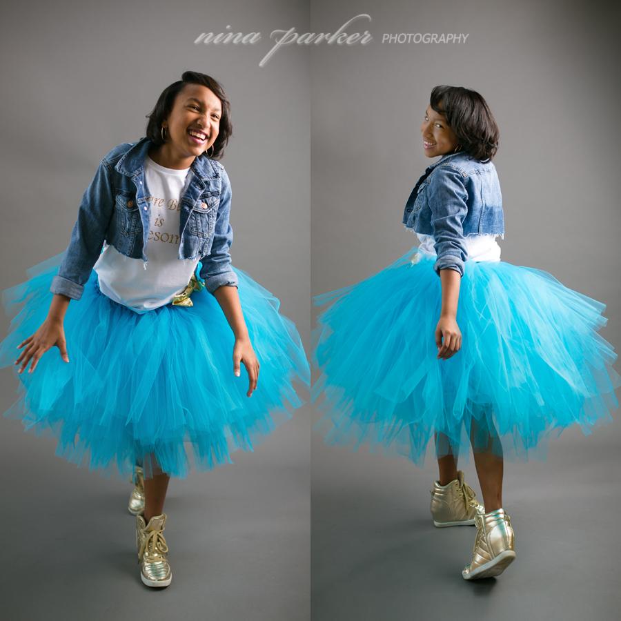 preteen girl in a tulle skirt